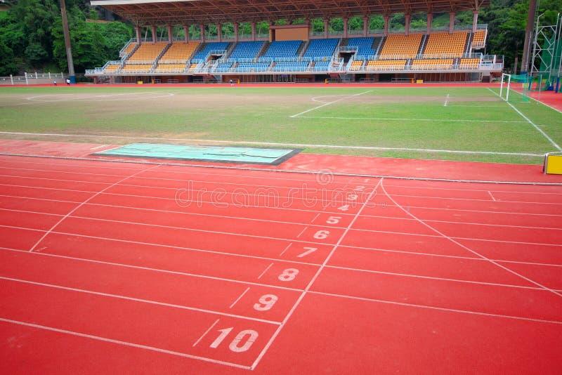 Stadium main stand and running track stock photography