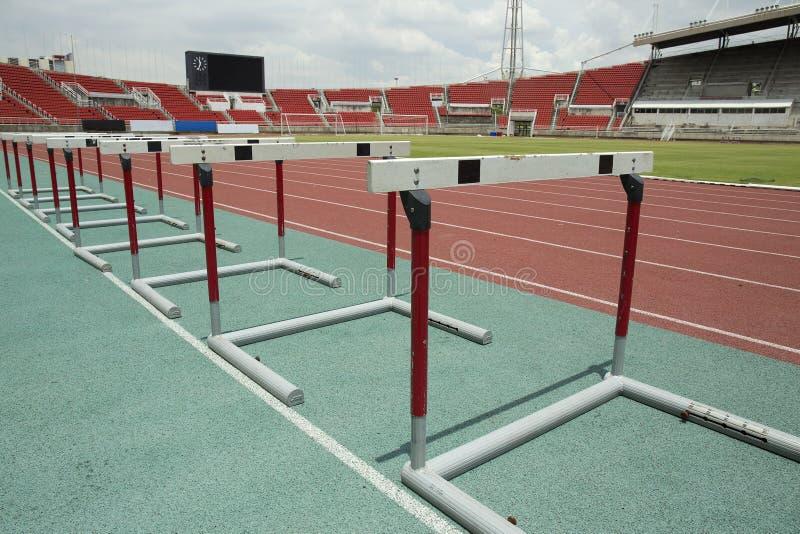 Stadium main stand and running track stock photos
