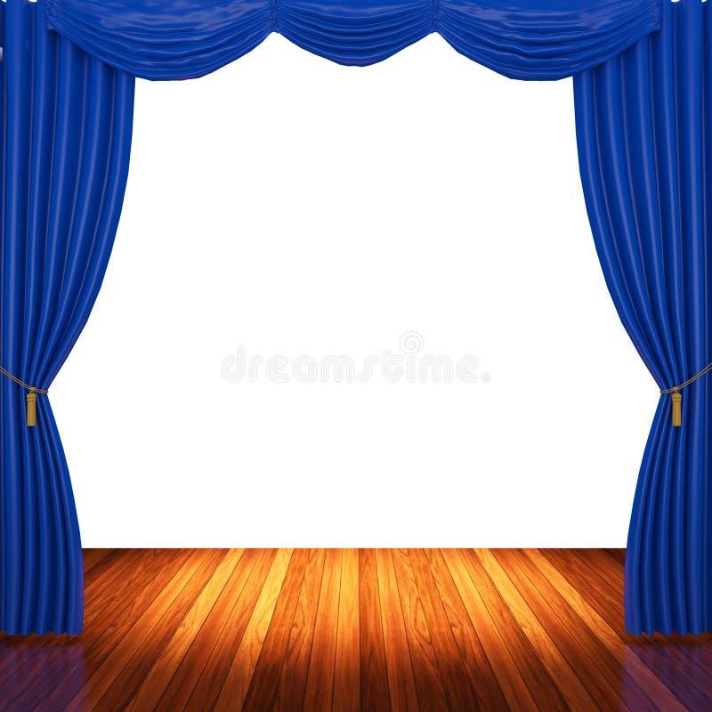 Stadium met blauwe gordijnen en schijnwerper vector illustratie