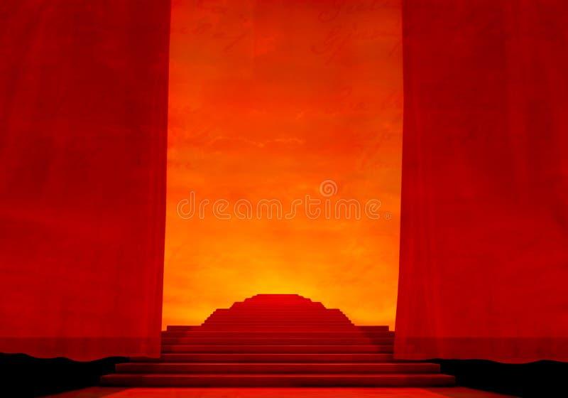 Stadium met rode tapijt en gordijnen. royalty-vrije stock fotografie