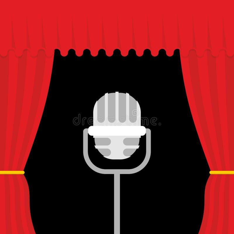 Stadium met rood gordijn en retro microfoon Open theatercurtai vector illustratie