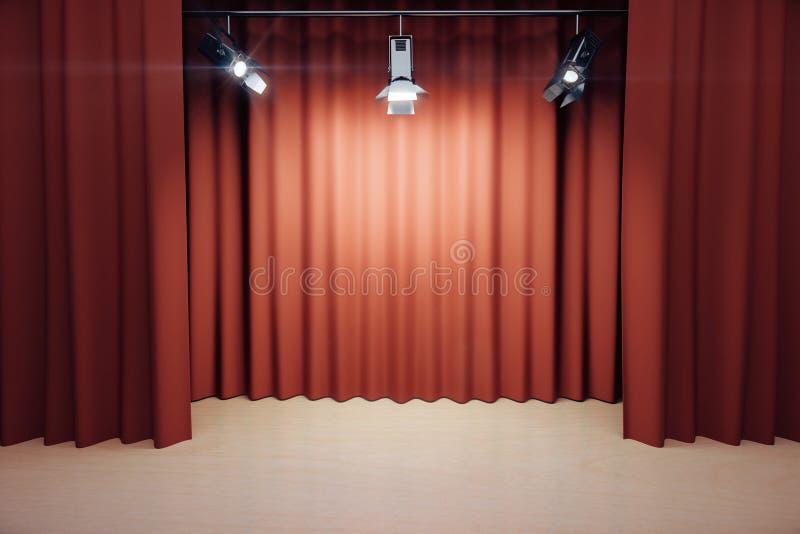 Stadium mit roten Szenen und Scheinwerfern lizenzfreies stockfoto
