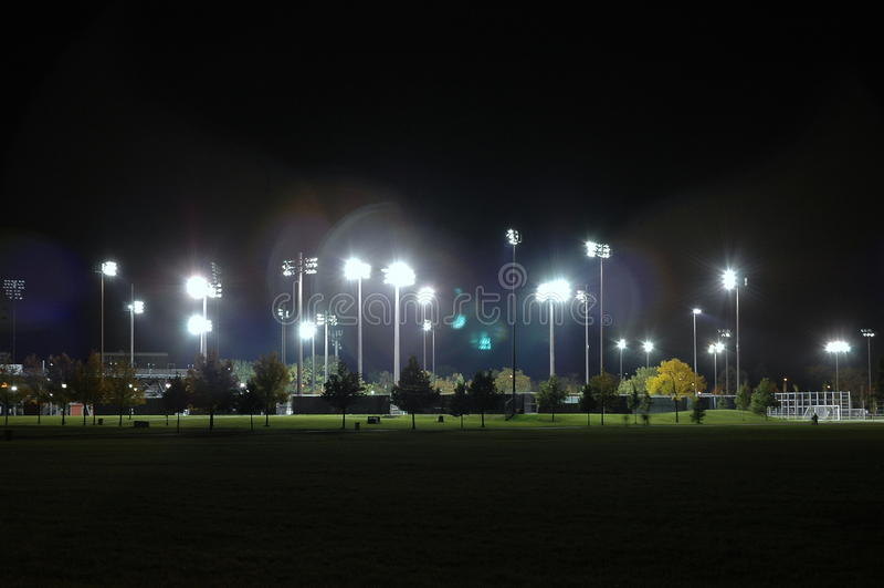 Stadium at night stock photos