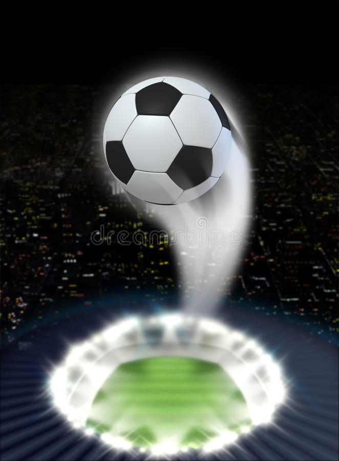 Stadium Night With Ball Swoosh. A soccer ball swooshing into the atmosphere from a stadium with a green grass pitch under spotlights on a night city scape stock photos