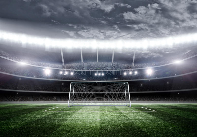 Stadium at night, 3d. The imaginary soccer stadium is modelled and rendered vector illustration