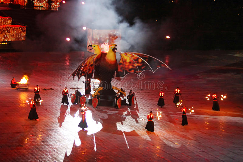 Stadium olimpijska ceremonia otwarcia (NSC Olimpiysky) fotografia royalty free