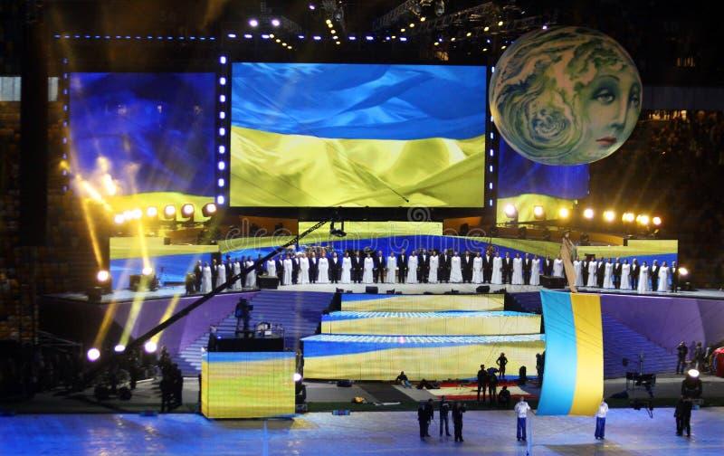 Stadium olimpijska ceremonia otwarcia (NSC Olimpiysky) obrazy royalty free
