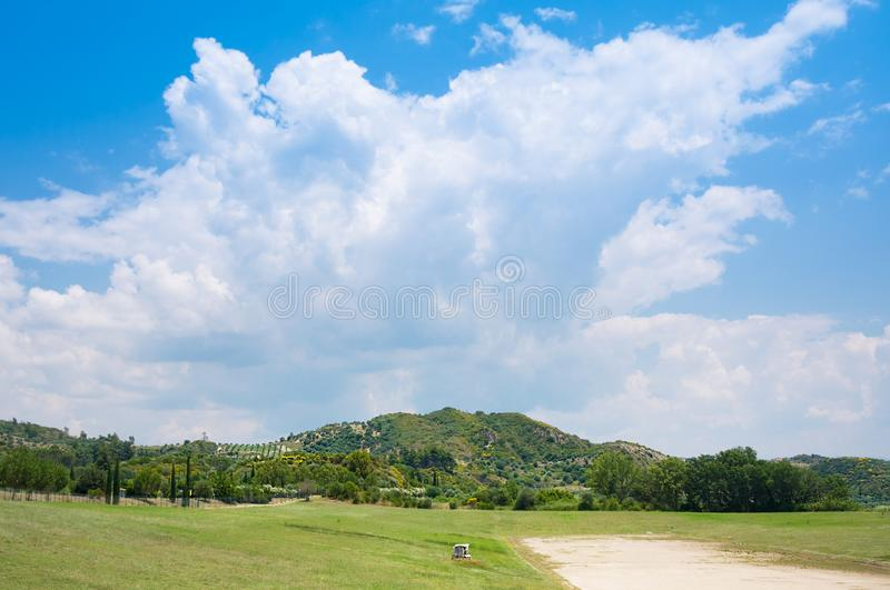 Stadium of Olympia, was where ancient Olympic Games and the Heraia, Olimpia archaeological site in Greece royalty free stock image
