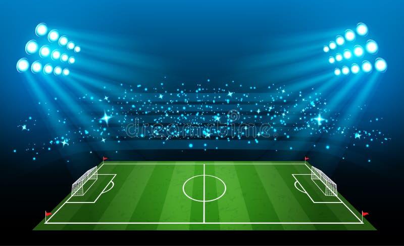 Stadium piłkarski, arena w nocy iluminował jaskrawych światła reflektorów royalty ilustracja
