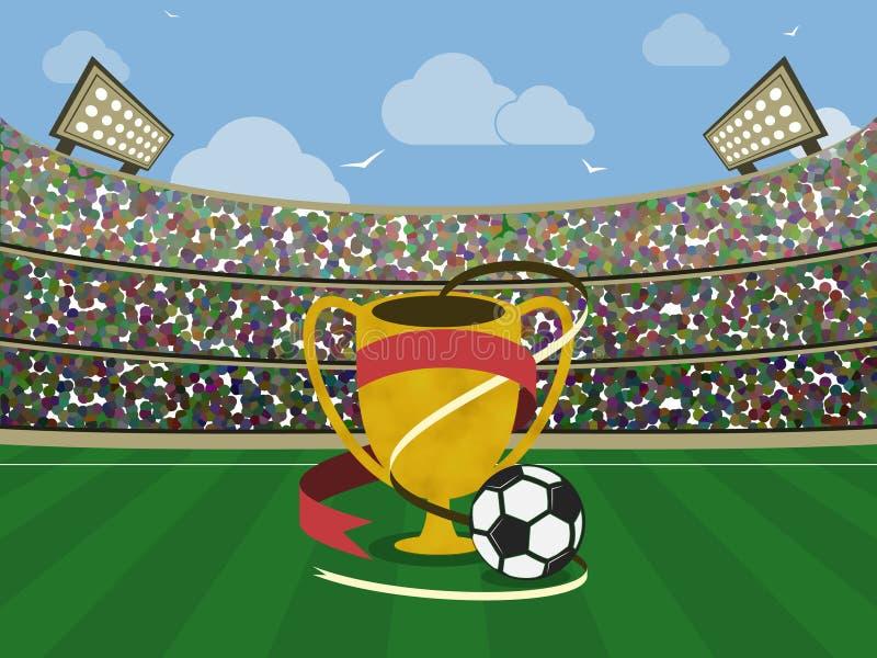 Stadium piłkarski i złota trofeum z Futbolowa arena również zwrócić corel ilustracji wektora ilustracji
