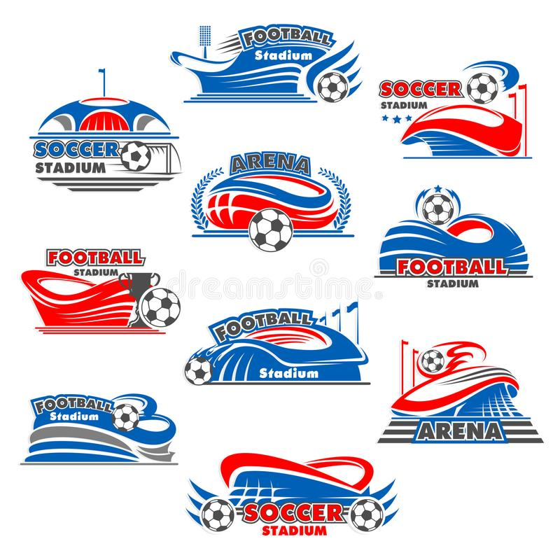 Stadium piłkarski ikona futbolowy sporta budynek ilustracja wektor