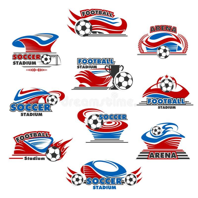 Stadium piłkarski lub futbolu sporta areny ikony projekt ilustracji