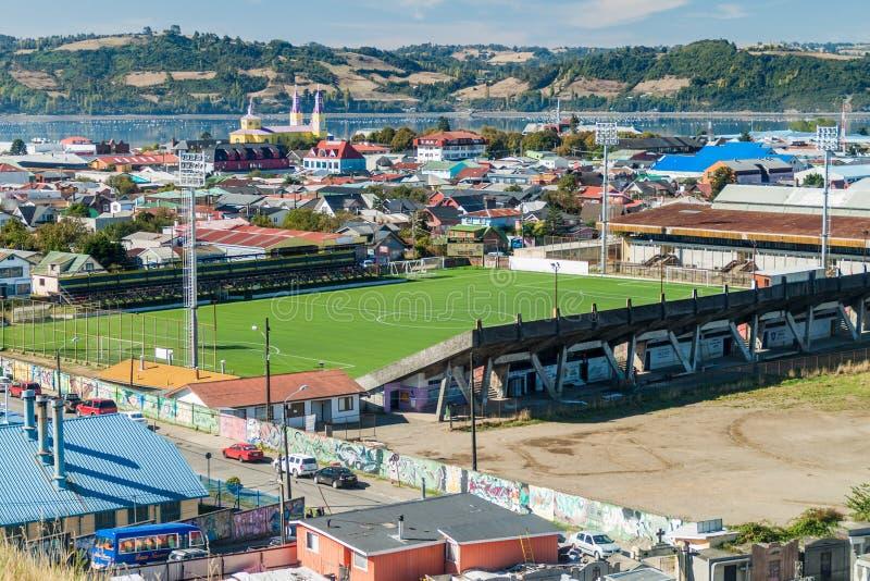 Stadium piłkarski w Castro, Chiloe wyspa, Chi obraz royalty free