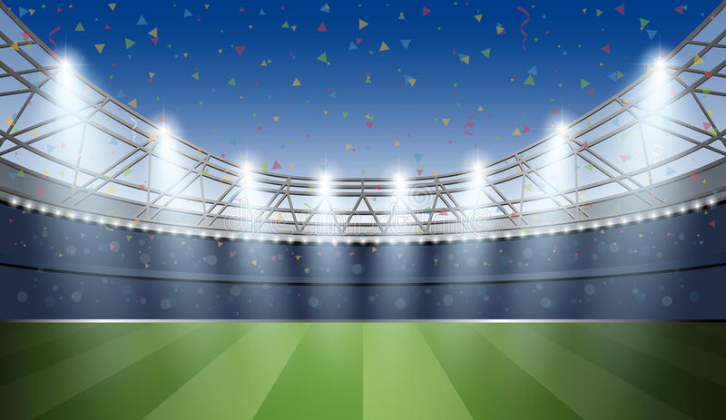 Stadium Piłkarski z punktu światłem i confetti tłem Futbol ilustracja wektor