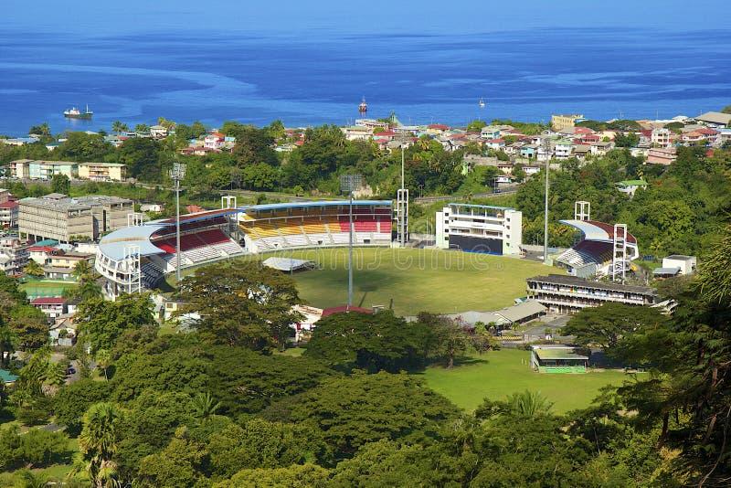 Stadium in Roseau, Dominica. Panorama of Roseau and stadium, Dominica stock photography