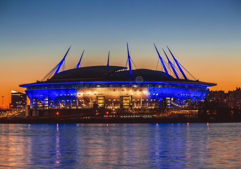 Stadium `Saint Petersburg Arena` on Krestovsky island in St. Petersburg at sunset. Russia royalty free stock image