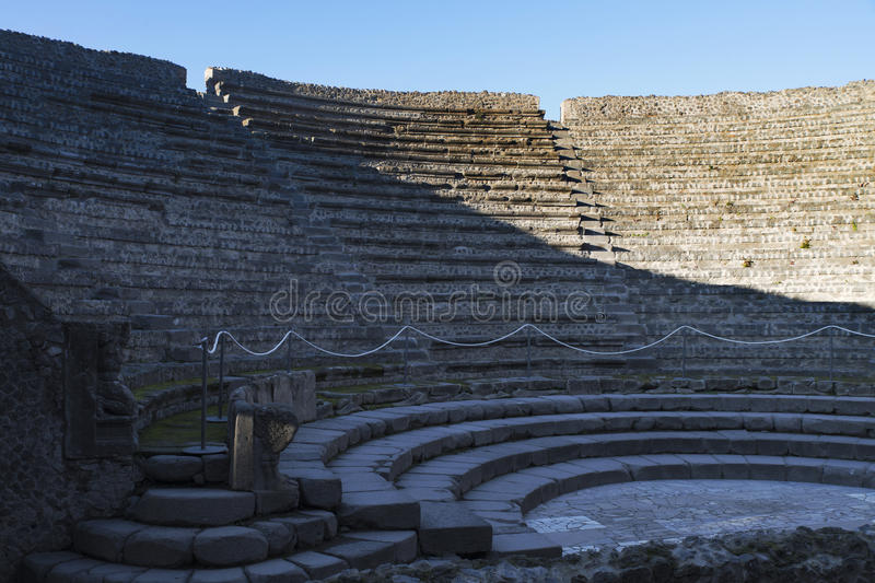 Stadium Seating in Pompeii. Ancient amphitheater in the lost city of Pompeii. , Italy. 27/12/2016 stock images