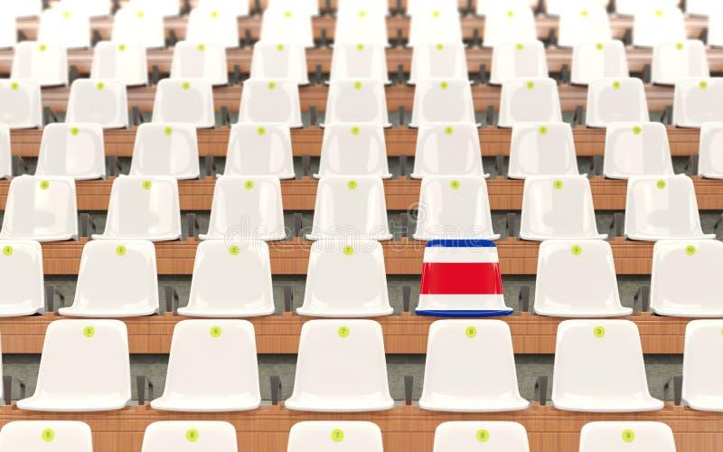 Stadium siedzenie z flaga costa rica royalty ilustracja