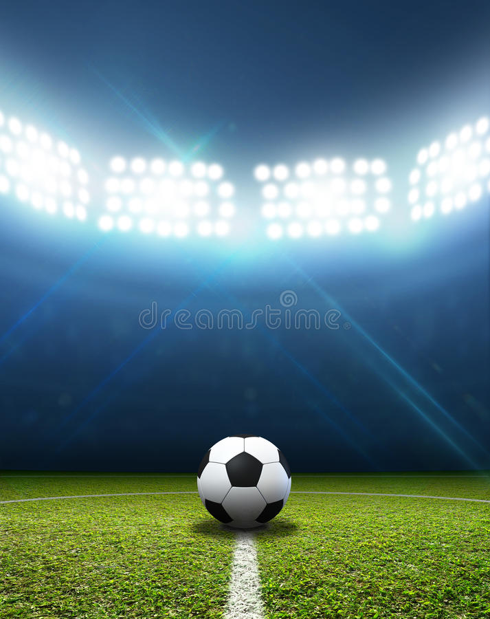 stadium and soccer ball stock image  image of grass  lamp