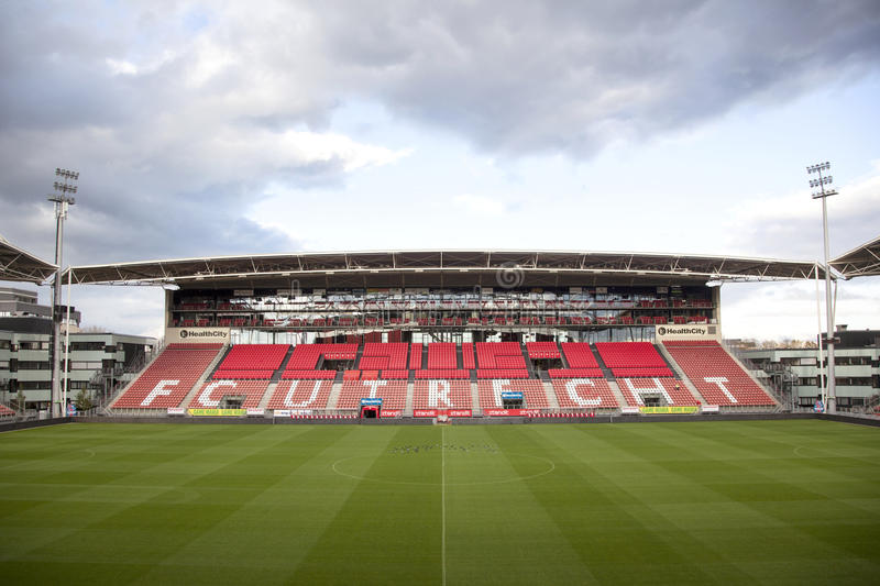 Stadium of soccer club fc utrecht in the netherlands. Empty stadium of soccer club fc utrecht in the netherlands with pigeons stock images