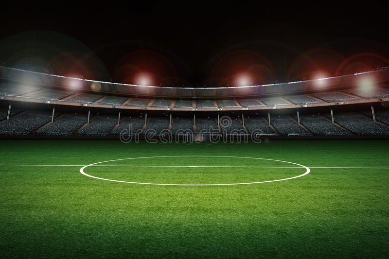 Stadium with soccer field. 3d rendering stadium with soccer field vector illustration