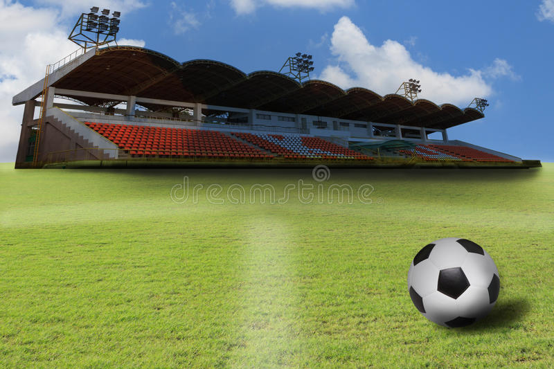Download Stadium And  Soccer Football On Green Grass Field Stock Image - Image: 26272091