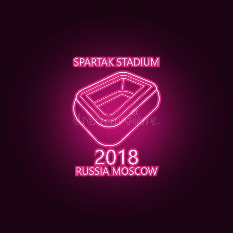 stadium Spartak 2018 neon icon. Elements of Championship 2018 set. Simple icon for websites, web design, mobile app, info graphics royalty free illustration