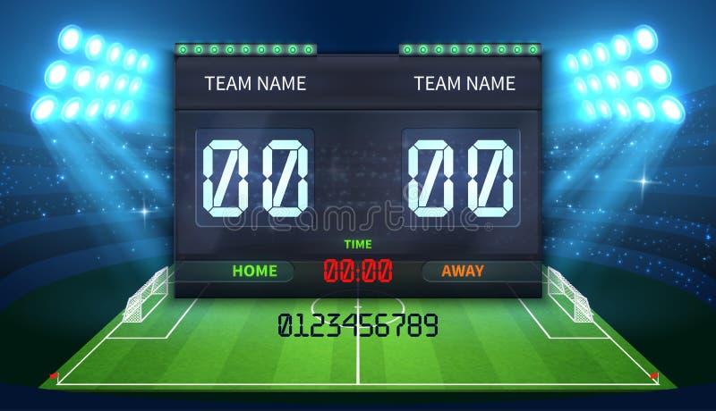Stadium sportów elektroniczna tablica wyników z piłka nożna czasu i futbolowego dopasowania rezultata pokazem royalty ilustracja