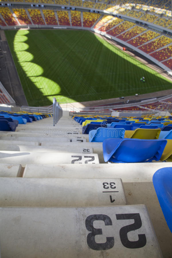 Stadium stairs and empty seats royalty free stock image