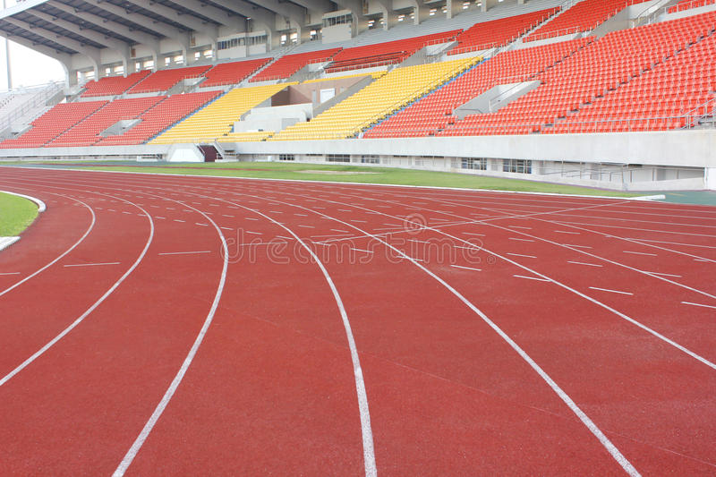 Stadium stand and running track royalty free stock image