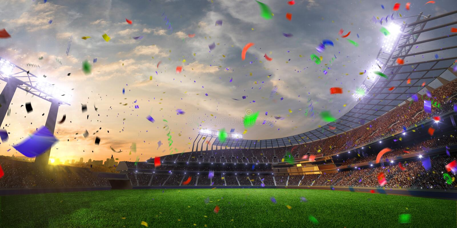 Stadium sunset Confetti and tinsel with people fans. 3d render illustration cloudy. Sky stock photography
