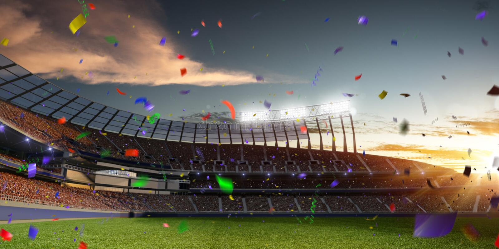Stadium sunset Confetti and tinsel with people fans. 3d render illustration cloudy. Sky royalty free stock photo