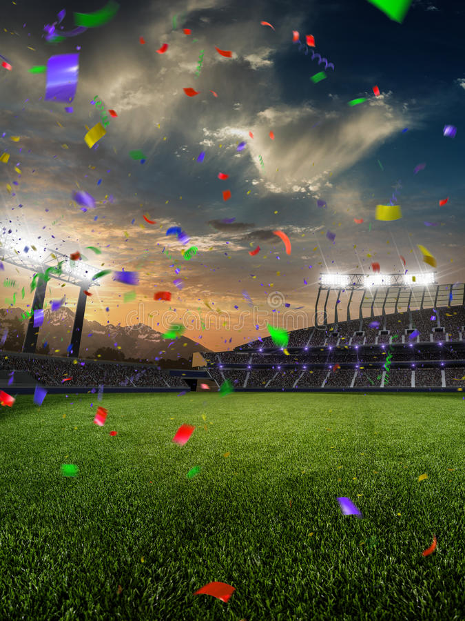 Stadium sunset Confetti and tinsel with people fans. 3d render illustration cloudy. Sky royalty free stock image