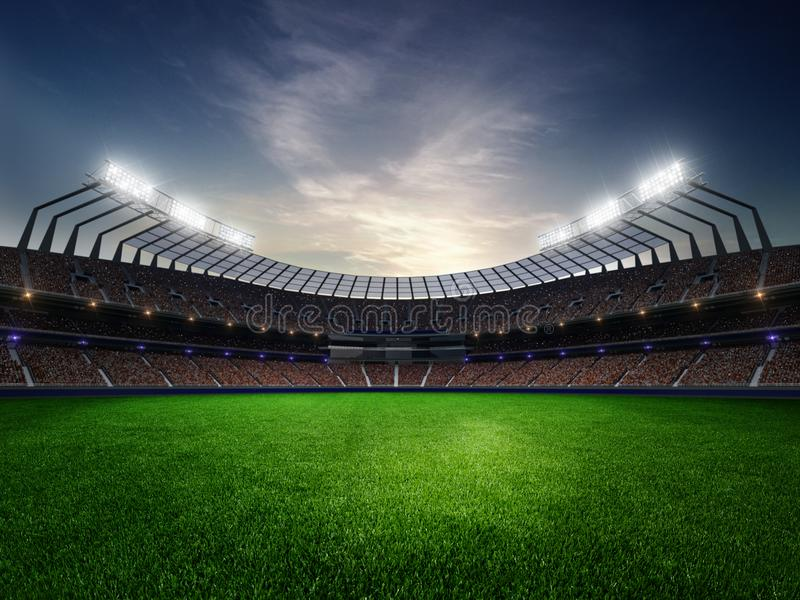 Stadium sunset with people fans. 3d render illustration cloudy. Sky royalty free stock photography