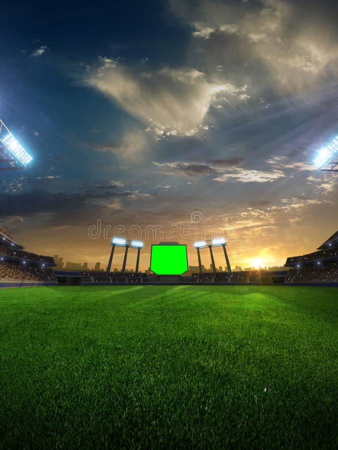 Stadium sunset with people fans. 3d render illustration cloudy. Sky royalty free stock images
