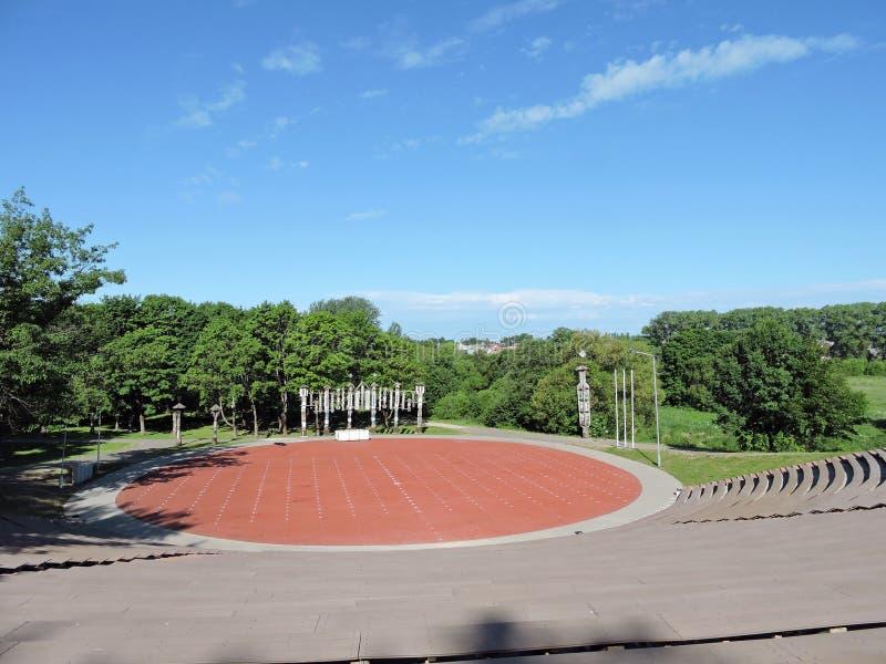 Stadium in Taurage-park, Litouwen royalty-vrije stock afbeeldingen