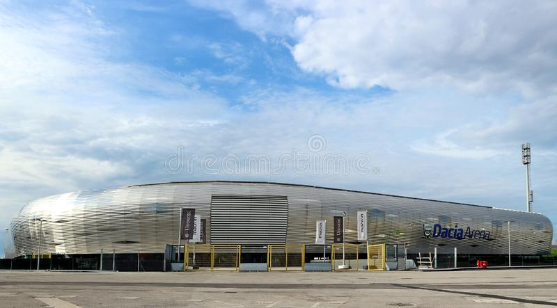 The  stadium of Udinese football club, north curve entrance and newly built store. The building is called Dacia Arena Friuli. stock photography