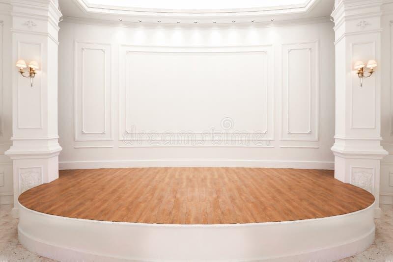 Stadium van auditorium met houten vloer stock fotografie