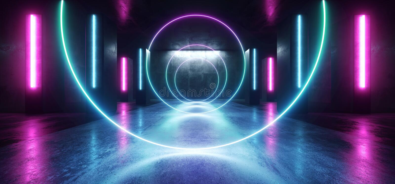 Stadium van de de Tunnelgang van FI Purpere Blue Circle Gestalte gegeven Gloeiende Trillende Lege Ruimtegrunge van neonlichten he royalty-vrije illustratie