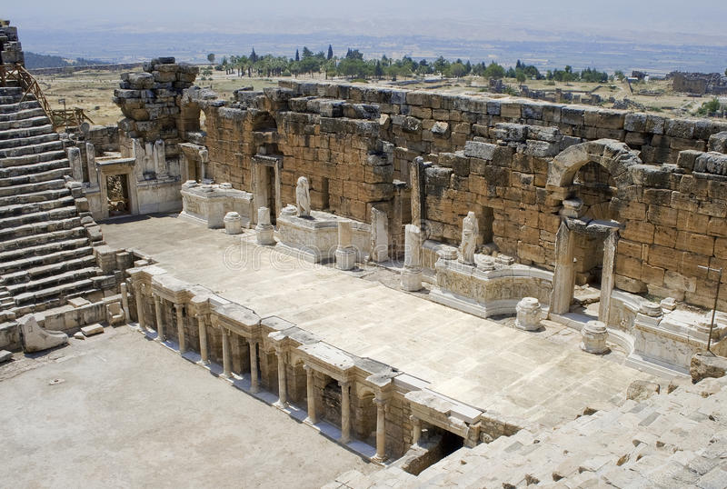 Stadium van Theater Antic in Hierapolis. stock foto