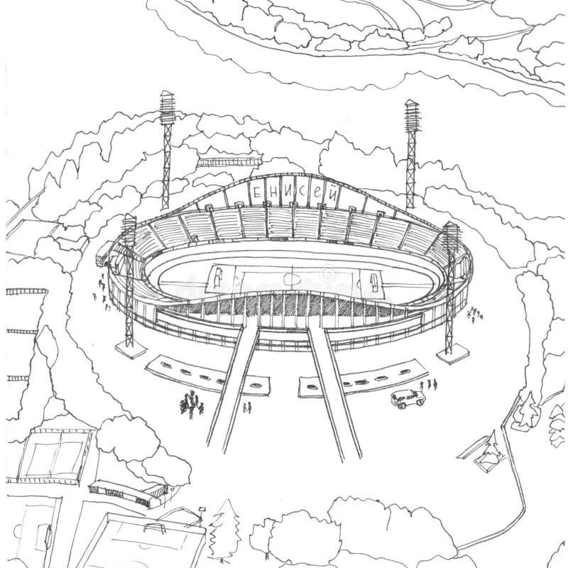 Stadium Yenisei in Krasnoyarsk black and white drawing. Sightseeng of Krasnoyarsk vector illustration