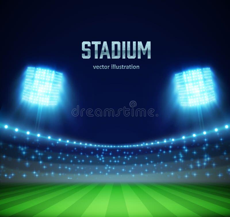 Stadium z światłami eps 10 i trybunami ilustracja wektor