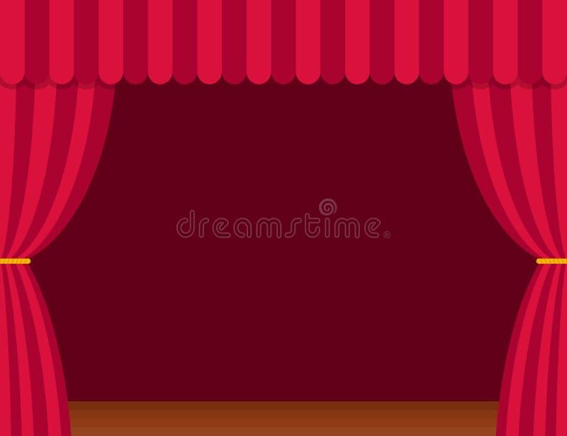 Stadiumgordijnen met bruine houten vloer in vlakke stijl Theater vector illustratie