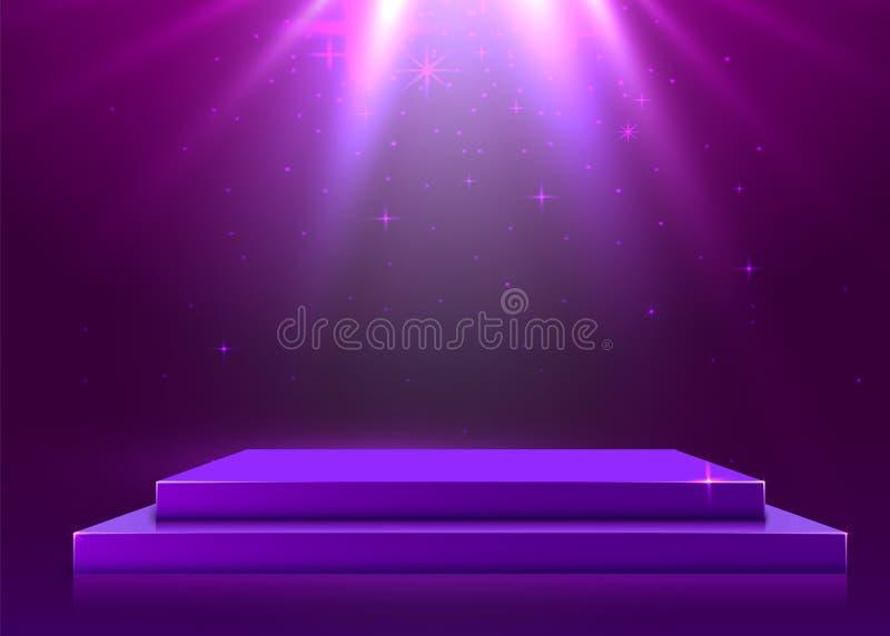 Stadiumpodium met verlichting, de Sc?ne van het Stadiumpodium met voor Toekenningsceremonie op purpere Achtergrond stock illustratie