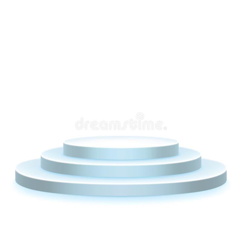 Stadiumpodium, voetstuk, scène op wit wordt geïsoleerd dat Het voorwerp van de toekenningsceremonie Platformmalplaatje Eps 10 royalty-vrije illustratie