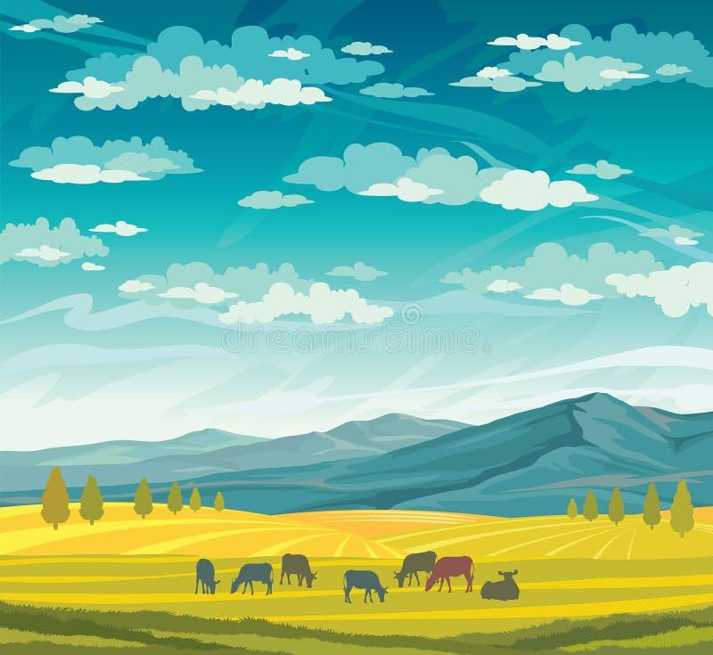 Stado krowy i łąka lata wiejskiego krajobrazu ilustracja wektor