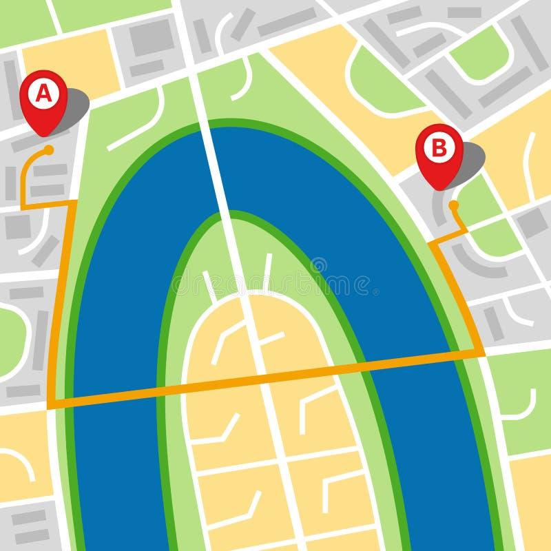 Stadsöversikt av en imaginär stad med en flod royaltyfri illustrationer