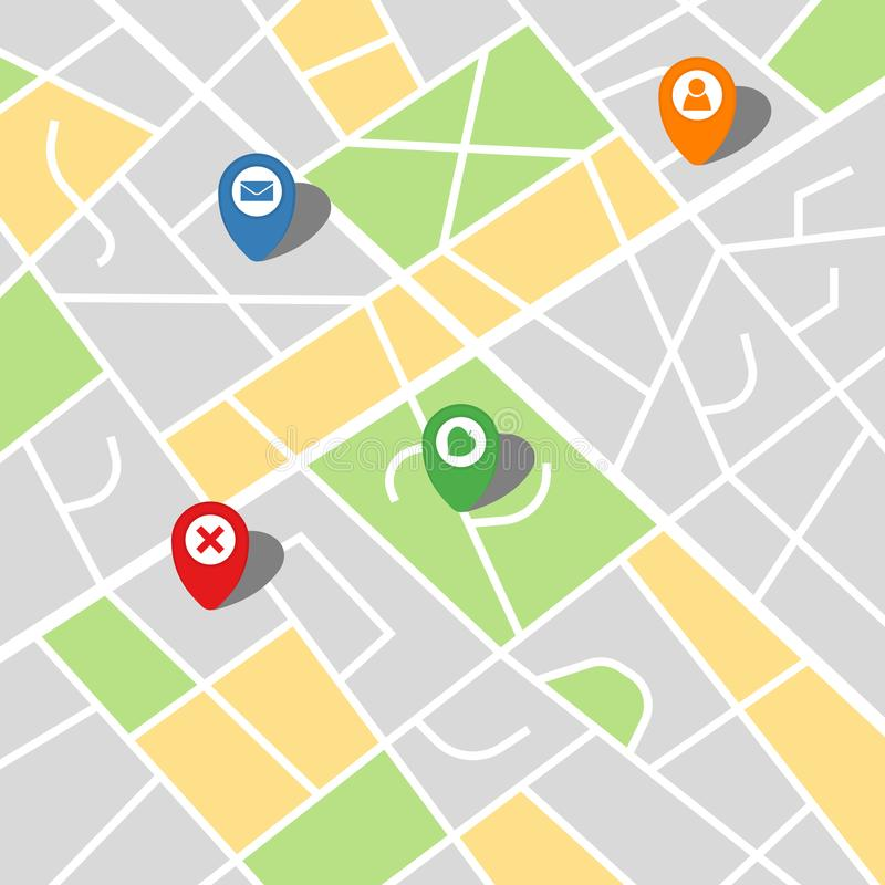 Stadsöversikt av en imaginär stad med fyra ben vektor illustrationer