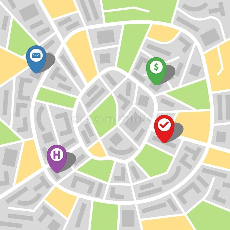 Stadsöversikt av en imaginär stad med fyra ben stock illustrationer