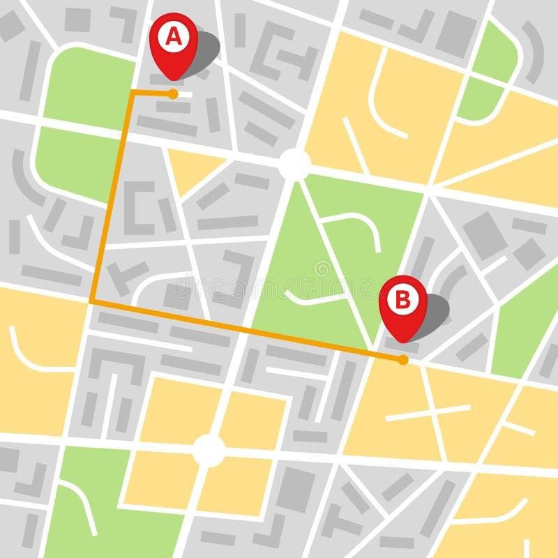 Stadsöversikt av en imaginär stad med en rutt från punkt A som pekar B royaltyfri illustrationer